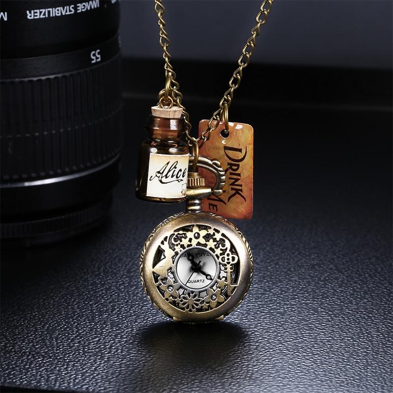 JIANG YUYAN Analog Japan Quartz Drink Me Wishing Bottle Key Pendant Bronze Pocket Watches Casual Chain Necklace Watch Clock Gift<br><br>Aliexpress