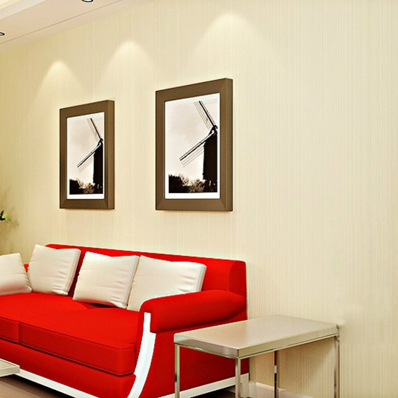 beibehang The new non-woven solid color plain simple home improvement TV backdrop wallpaper bedroom wallpaper vertical stripes<br>