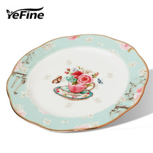 YeFine Creative Gift Bone China Ceramic Plate Kitchen Supplies Simple and Stylish Dessert Plate Dinner Plates & Dishes For Snack