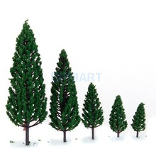 Free Shipping 10Pcs 1.9 inch - 6.3 inch Train Set Scenery Landscape Model Pyramidal Trees Scale 1/50