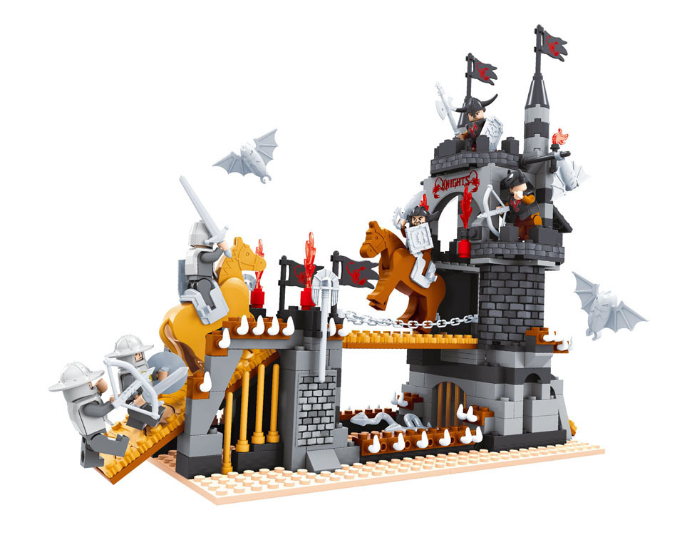 Model building kits compatible with lego  Medieval Castle Knight  3D blocks Educational model building toys hobbies for children<br>