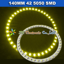 1pair 2X White Red Green Yellow Blue color Car front headlight led angel eyes halo rings light lights140mm 42 5050 SMD led(China)