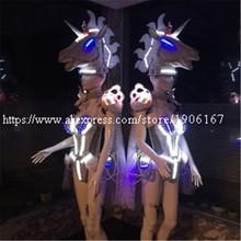 Led Luminous Unicorn Horse Catwalk Clothing Costume Carnival Victoria Sexy Lady Evening Dress Stage Performance Dance DJ Clothes