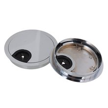 80mm hole diameter bright silver zinc alloy pc computer grommets table desk cable tidy wire hole cover pack of 2