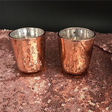 Free Shipping 12pcs/Lot 2.5 Inch Rose Gold Mercury Glass Candle Holder Wedding Votive Candle Holder Dinner Table Decoration