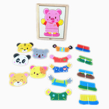 Baby Toys Pig/Bear Derss Changing/Derssing Jigsaw Wooden Toys 6Set Clothing Infant Cartoon Puzzle Child Education Birthday Gift(China)