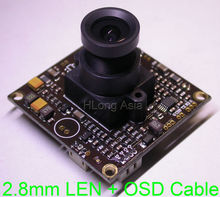 "2.8mm LEN WDR EFFIO-V 1/3"" Sony dual speed CCD sensor ICX662/663 CXD4141 CCTV camera module board with OSD cable(China)"