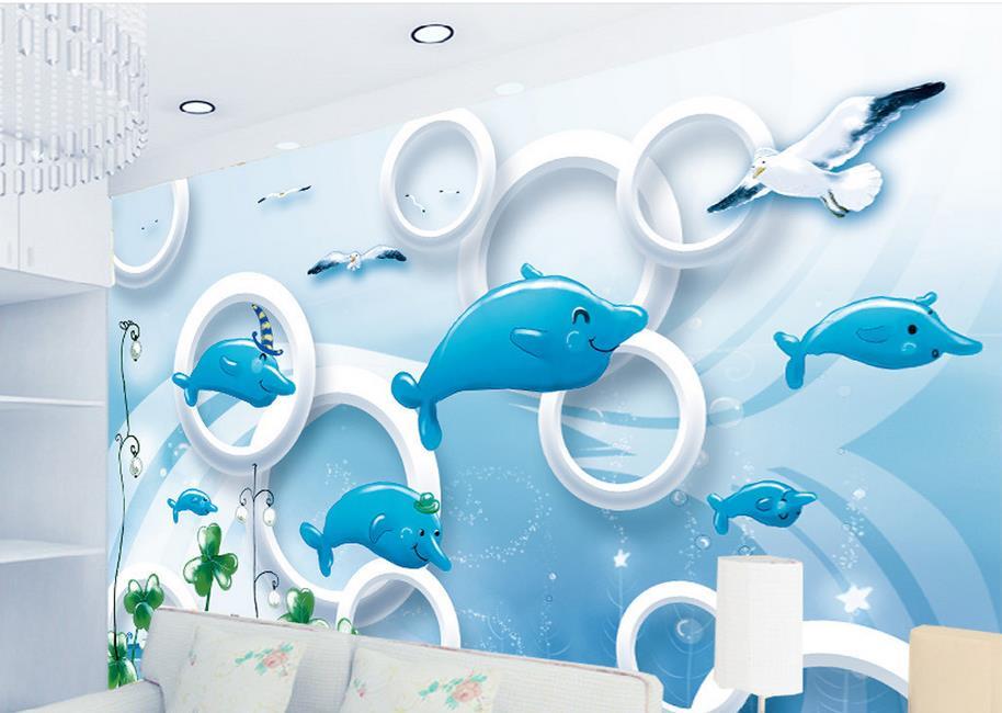 3d stereoscopic Dolphin wallpaper for walls 3 d photo wallpaper customized 3d wall murals bedroom wallpaper<br><br>Aliexpress