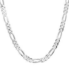 LUCKY YEAR Fine Shipping 1pc silver color Figaro Chain Necklace 16-30inch 2mm Fine Jewelry For Women Men