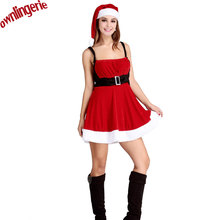 Sexy Hot Red Christmas dress costumes Miss Santa Claus Costume Sweet Mother Santa Overalls Dress Costume with Xmas Hat