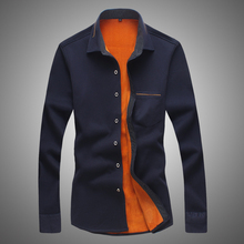 HCXY 2017 winter Mens plus thick velvet long-sleeved business shirt for male solid color simple and comfortable warm shirt Men