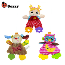 Sozzy Soft Baby Handkerchief Toy Teether Crinkle Sound Rattle Plush Toy 0M+ Owl Girl Dog Comfort Appease Playmate(China)