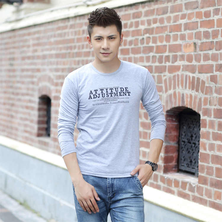 Winter 2014 Lycra cotton new men's long sleeved T-shirt fashion T long sleeve manufacturers selling a generation of fat