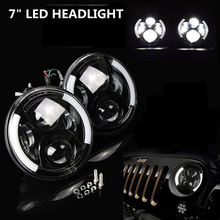 7 Inch 60w Round LED Projector Headlights Hi/lo Beam Jeep Wrangler Jk TJ FJ cruiser Hummer Trucks Motorcycle Headlamp - DP off road&Motor Lights Store store