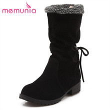 MEMUNIA popular knot warm well mid calf boots pu nubuck leather women boots round toe plus size 34-43 snow boots winter boots