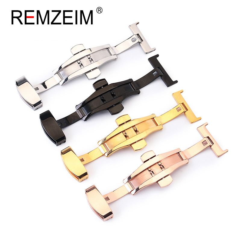 Stainless Steel Solid Double Push Button Fold Watch Buckle Butterfly Deployment Clasp Watch Strap 16mm 18mm 20mm 22mm 24mm