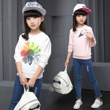 Kids Girls Spring / Autumn 2017 new long-sleeved T-shirt baby girls' clothing fashion sunflowers shirt 4/5/6/8/9/10/11/12 years