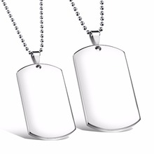 Custom Engarved High Polished Stainless Steel Silver Blank Dog Tag Pendants No Chain