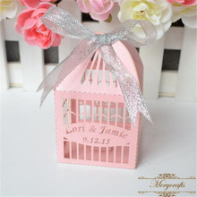 Elegant pink bird cage laser cut wedding favors chocolate packaging box(China)