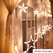 Star Curtain Lights, With 12 Stars 138pcs Waterproof Curtain Lights, Decoration for Wedding, Christmas, Holiday, Party and Home