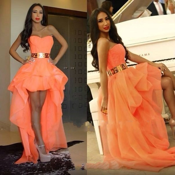 New Fashion Hi-Low Orange Ruffled Organza Long Prom Dresses Sweetheart Evening Dress With Sash