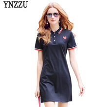 YNZZU Summer Dress Women 2017 Heart Embroidery Casual Short Sleeve Polo Shirt Dresses Girls A Line Short Dress Vestidos YD166