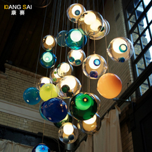 modern staircase room personality dining room  colorful glass ball pendant light