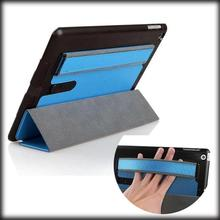 by dhl or ems 200pcs Luxury Flip Ultra Thin Loud Speaker Dust Plug Arm Band Handy Stand Leather Case Smart Cover For ipad mini