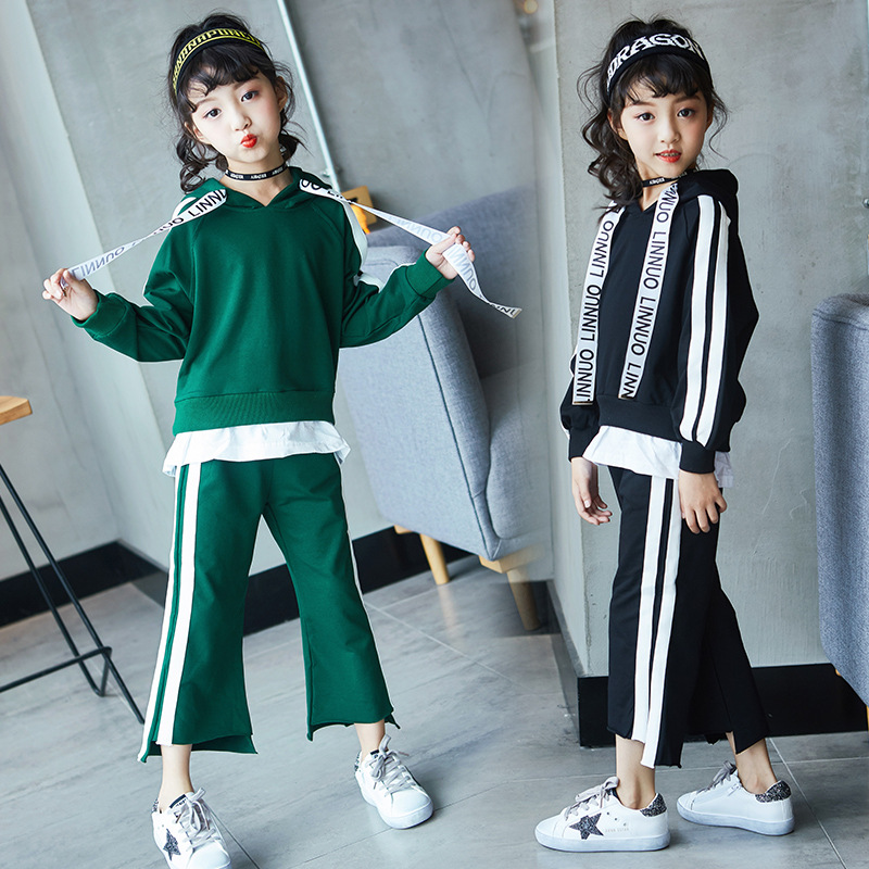 Girls Clothes Sports Set Green Black Girls Outfits Tracksuit 2017 Autumn Hooded Top with Wide Leg Pants 2 Pcs Girls Set<br>