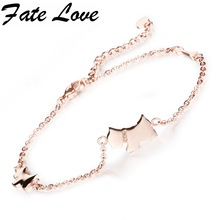 Fate Love Woman Accessories Cute Lucky Dog Anklets Rose Gold Color Stainless Steel Chain Ankle Bracelet Foot Jewelry Beach FL011(China)