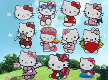 (50 Pcs/Lot) Kawaii 100% Cotton 11 Design Hello Kitty Sew-on Iron-On Clothing Patch Cloth Applique
