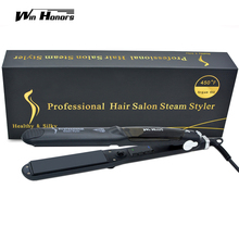 Steam Function Flat Iron Tourmaline Ceramic Vapor Professional Hair Straightener with Argan Oil Infusion Straightening Irons(China)