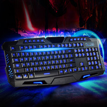 100% Brand New Gaming Keyboard USB Tricolor Background lighting Wired Keyboard for Desktop Laptop PC