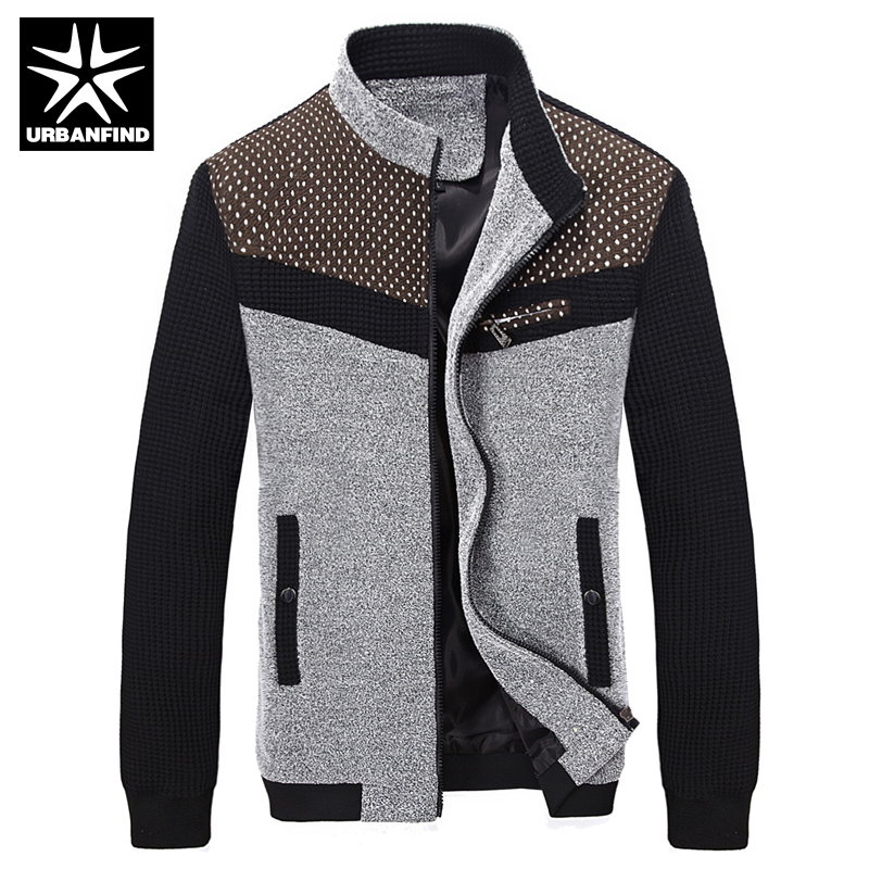 Korean Fashion Man Autumn Jackets Plus Size M-3XL Dot Printed Patchwork Style Stand Collar Outerwear Men Casual Slim Coats