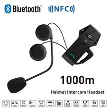 New 1000M BT Motorcycle Helmet Bluetooth Intercom Headset Earphone Headphone with NFC FM Radio Function For Phone/GPS/MP3