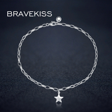 BRAVEKISS 925 Sterling Silver Anklets For Women Food Chain Best Lady Beach Girl Simple Heart Ankle Chain Fashion Jewelry BLA0003(China)