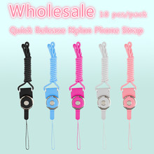 Wholesale Candy Color Nylon Phone Key Chain Mobile Phone Sling Rope Lanyard Mobile Phone Straps For iPhone Samsung 10 pcs/pack