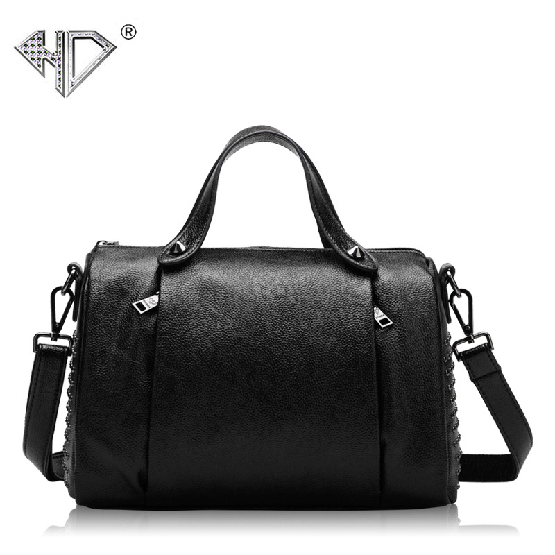 2017 New Fashion Genuine Leather Handbags Cow Leather Bags Handbag Women Famous Brands Rivets Pillow Women Leather Handbags Sac<br>
