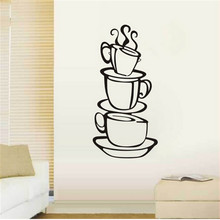 3D coffee cups creative wall decal removable vinyl wall sticker DIY home decor wall art kitchen coffee shop store wall artdecor