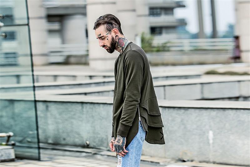 Cross Printed Hip Hop Sweatshirt Men 17Spring Streetwear Curved Hem Side Zipper Plain Mens Sweatshirts and Hoodies Man Clothes 9