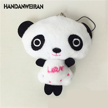 2017 New Small 10cm Panda Keychain Pendant Cute Kawaii Quality Baby Plush Toys Hot Sale Kids Toys for Children Retail+wholesale