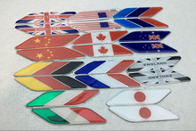 50 pairs Aluminum National Flags Car-styling China England USA Germany France Italy Japan Australia Canada Flag Car Side Sticker