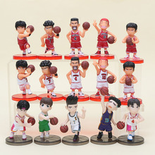 15pcs/set Slam Dunk action Figures Basketball Toys Hanamichi Sakuragi Rukawa Kaede PVC Action Figure Kid Gift(China)