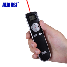 August LP315 Wireless 2.4GHz USB Slide Presenter and Air Mouse with Red Laser Pointer PowerPoint Presentation Remote Control