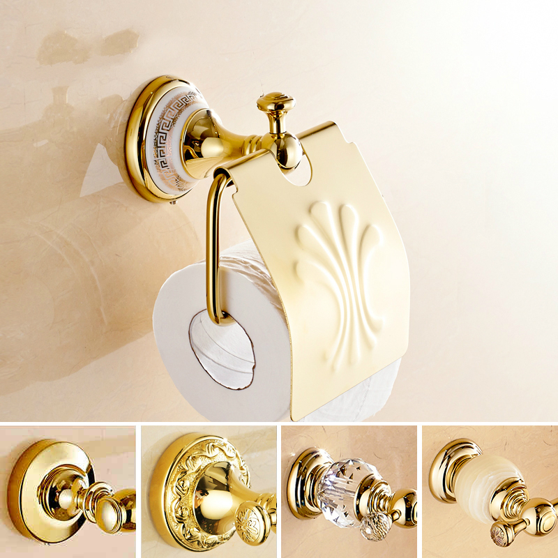 Vintage Copper Ceramic Base Toilet Paper Holder European Gold Tissue Roll Holder Tissue Box Wall Mount Bathroom Accessories gl1<br>