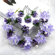 1 Set Romantic Purple Hair Accessories Beads Flower Leaf Hair Pin Clip Pearl Wedding Headpieces Bridal Hair Jewelry Headdress