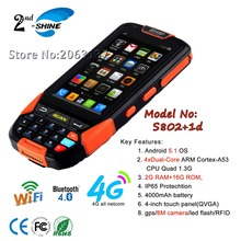 Rugged Android 5.1 OS 1d barcode reader pos support GPRS,8MP camera portable terminal