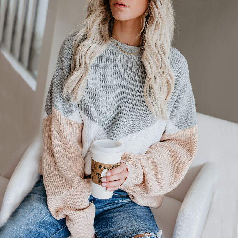 QUEVOON Oversized Sweaters For Women Loose Knitting Pullovers Round Neck Patchwork Lantern Sleeve Jumpers Winter Women Sweaters