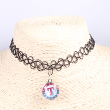 Black Tatoo 18mm Mix Style MLB Texas Rangers Team Fan Snap Button Chocker Necklaces