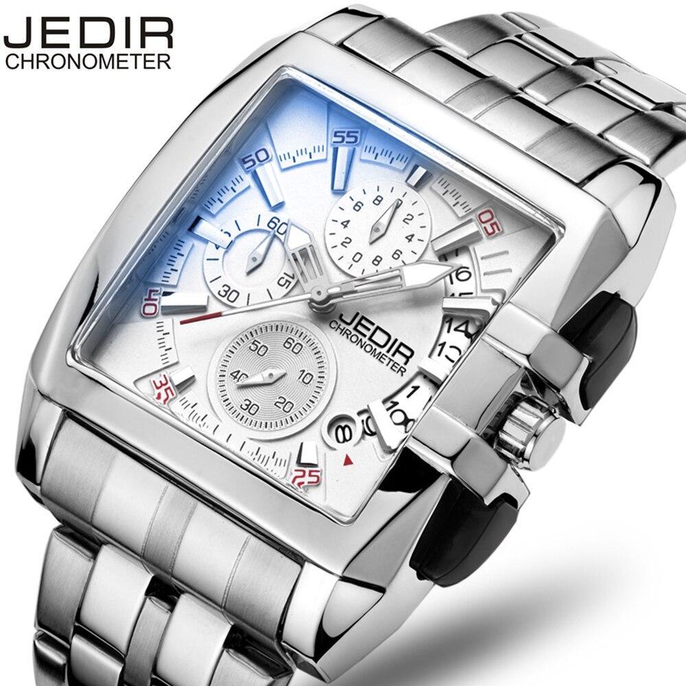 2017 JEDIR Fashion Square Mens Chronograph Watches Day Stop Watch Male Quartz-watch Wristwatch Montre Homme Gift Box Free Ship<br>